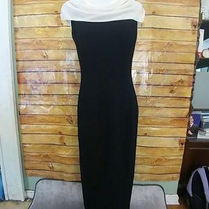 Elegant black/ivory gown by Carole Little Designs